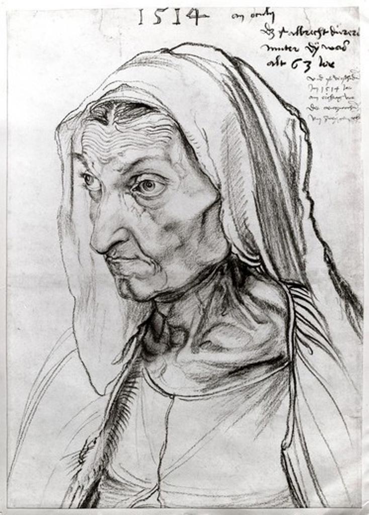 Stock Photo: 995-103136 Portrait of the Artist's Mother 1514 Albrecht Durer (1471-1528 German) Charcoal Staatliche Museen Preussischer Kulturbesitz (Gemaldegalerie) Berlin, Germany