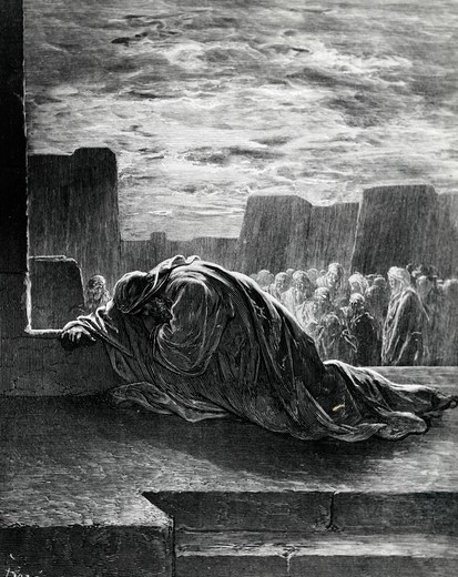 Stock Photo: 995-103139 Ezra Praying, Gustave Dore (1832-1883 French), engraving, (1832-1883)