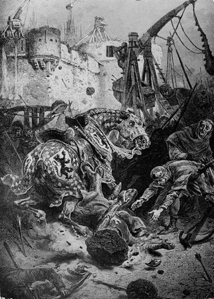 Death of Simon de Montfort, 1218 (Albigensian Crusade) Artist Unknown : Stock Photo