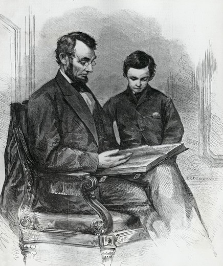 Lincoln Reading the Bible to His Son, Tad, in His Studio at the White House, after a photo by Brady taken in 1865 : Stock Photo