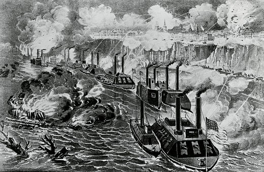 Admiral Porter's Fleet Running the Rebel Blockade of the Mississippi at Vicksburg, April 16, 1863 : Stock Photo
