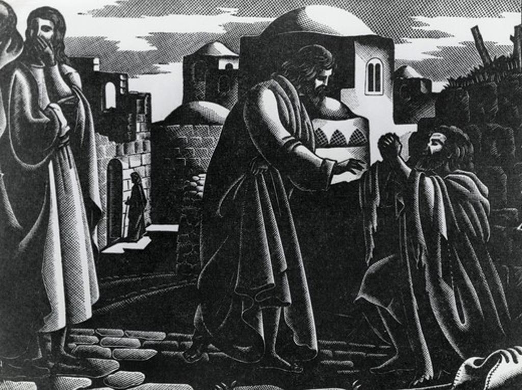 Stock Photo: 995-103281 Christ Cleanses The Leper, Bruno Bramanti, (1897-1957 Italian)