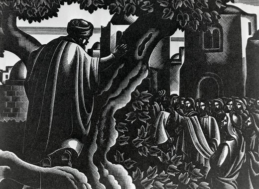 Stock Photo: 995-103285 Christ Visits Zaccheus, Bruno Bramanti, (1897-1957 Italian)