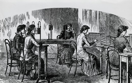 Early Telephone Operators, Artist Unknown : Stock Photo