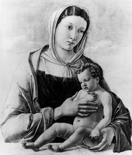 Stock Photo: 995-110289 Madonna and Child by Giovanni Bellini, (1430-1516)