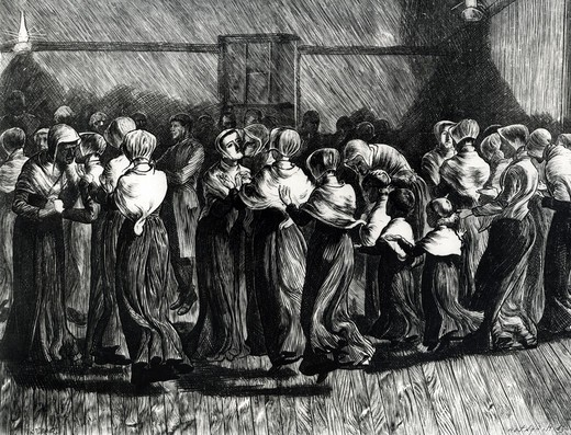 Stock Photo: 995-1150 Shakers At The Meeting Religious Dance Unknown