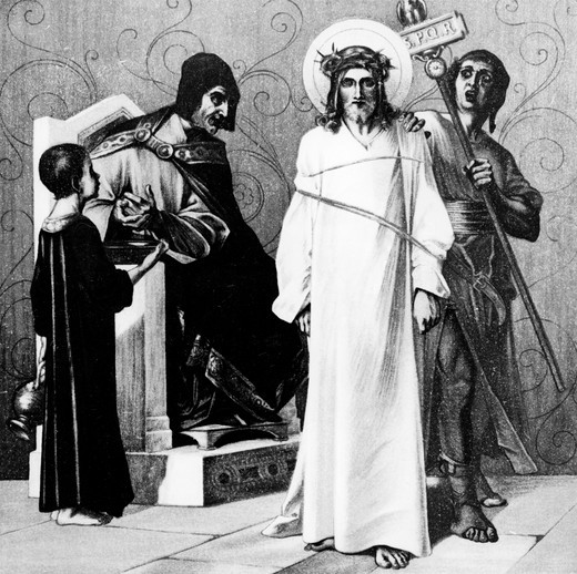 Stock Photo: 995-1199 Jesus is Condemned to Death (1st station of the Cross) by Martin Ritter von Feuerstein, oil painting, circa 1898, 1856 - 1931, Germany, Munich, Saint Anna Church, Germany, Munich, Saint Anna Church