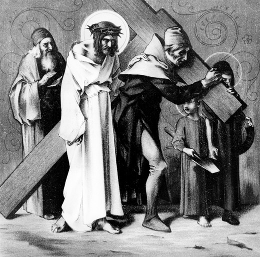 Stock Photo: 995-1203 The Cyrenian Helps Jesus to Carry His Cross (5th station of the Cross) by Martin Ritter von Feuerstein, oil painting, circa 1898, 1856 - 1931, Germany, Munich, Saint Anna Church