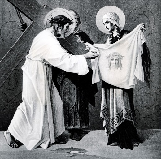 Stock Photo: 995-1204 Veronica Wipes the Face of Jesus (6th station of the Cross) by Martin Ritter von Feuerstein, oil painting, circa 1898, 1856 - 1931, Germany, Munich, Saint Anna Church