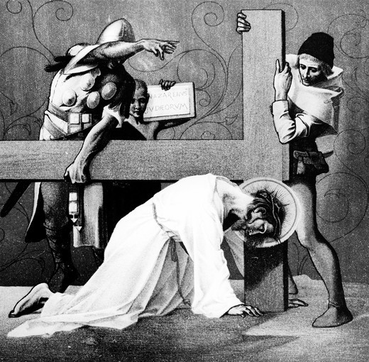 Jesus Falls the Second Time (7rd station of the Cross) by Martin Ritter von Feuerstein, oil painting, circa 1898, 1856 - 1931, Germany, Munich, Saint Anna Church : Stock Photo