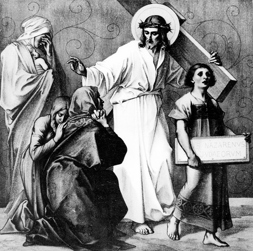 Jesus Speaks to the Daughters of Jerusalem (8th station of the Cross) by Martin Ritter von Feuerstein, oil painting, circa 1898, 1856 - 1931, Germany, Munich, Saint Anna Church : Stock Photo