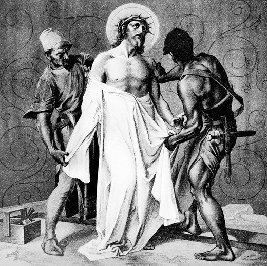 Stock Photo: 995-1208 Jesus is Stripped of His Garments (10th station of the Cross) by Martin Ritter von Feuerstein, oil painting, circa 1898, 1856 - 1931, Germany, Munich, Saint Anna Church