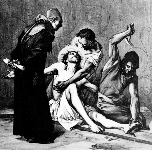 Stock Photo: 995-1209 Jesus is Nailed to the Cross (11th station of the Cross) by Martin Ritter von Feuerstein, oil painting, circa 1898, 1856 - 1931, Germany, Munich, Saint Anna Church