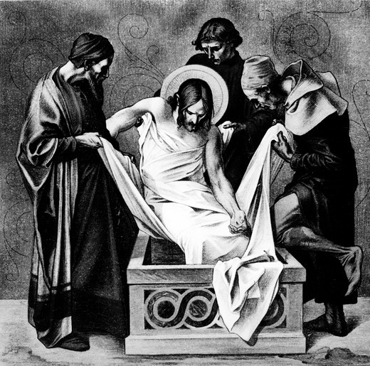 Stock Photo: 995-1212 Jesus is Placed in the Sepulchre (14th station of the Cross) by Martin Ritter von Feuerstein, oil painting, circa 1898, 1856 - 1931, Germany, Munich, Saint Anna Church