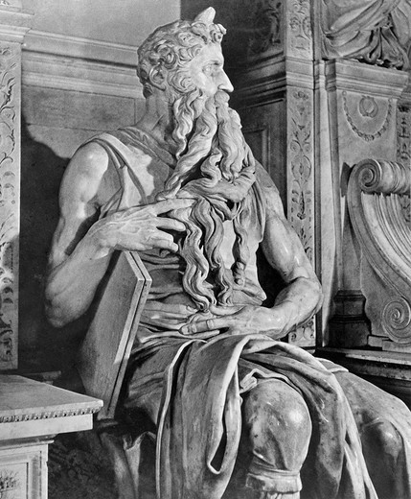 Stock Photo: 995-144 Moses 1475-1564 Michelangelo Buonarroti (1475-1564 Italian) Marble San Pietro in Vincoli, Rome, Italy