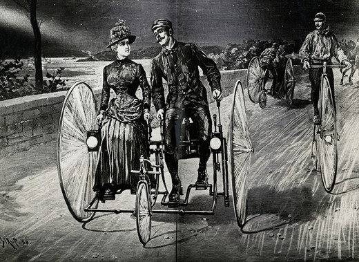 On A Tricycle Built For Two, Riverside Drive, Ny 1886, 1886, Artist Unknown, : Stock Photo