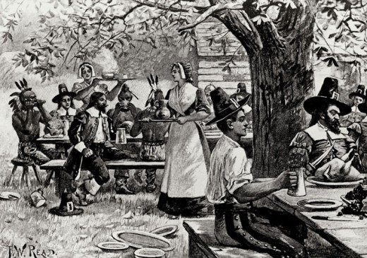 Stock Photo: 995-166 The First Thanksgiving by F.W. Read, 20th Century