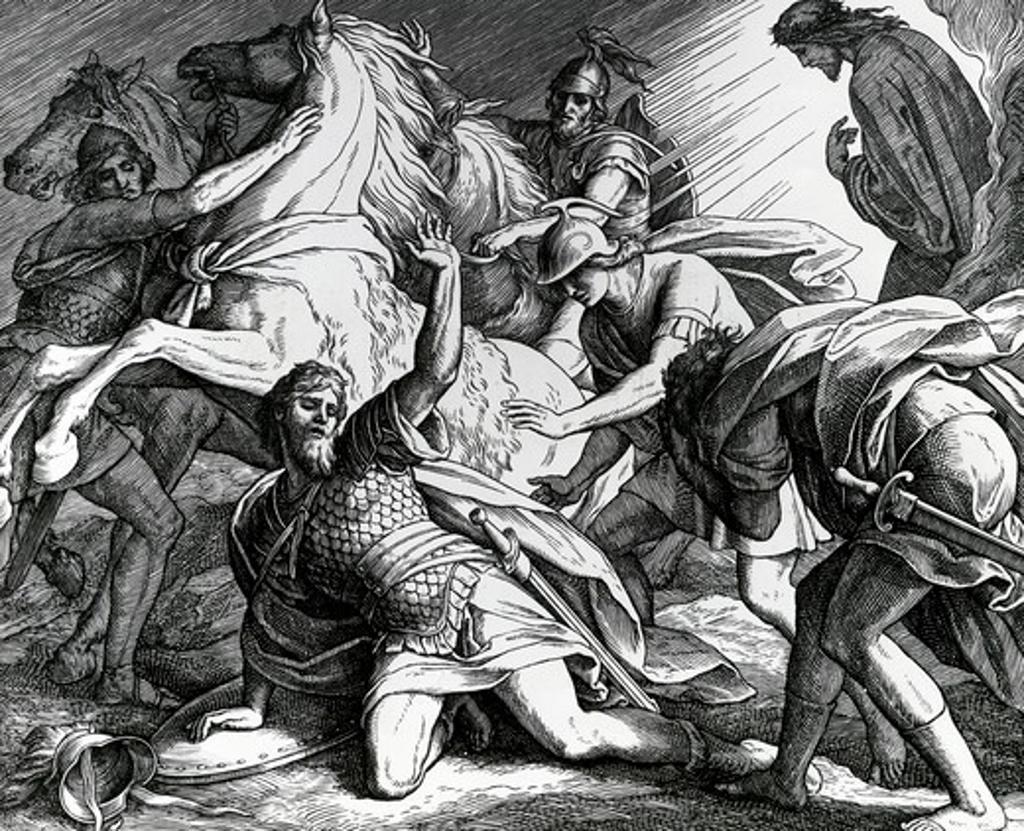 Stock Photo: 995-1887 Conversion of Saul by Julius Schnorr von Carolsfeld, illustration, (1794-1872)