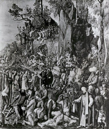 Stock Photo: 995-2000 Martyrdom of Ten Thousand Christians Under King Sapor of Persia by Albrecht Durer, illustration, (1471-1528)