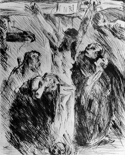 Stock Photo: 995-210 Crucifixion by Lovis Corinth, etching, 1858 ?1925