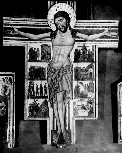 The Crucifixion by unknown artist, Byzantine style : Stock Photo
