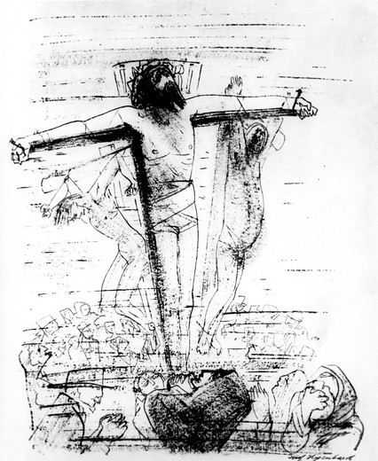 Mourning the Death of the Crucified Christ by Joseph Hegenbarth, 1884-1962 : Stock Photo