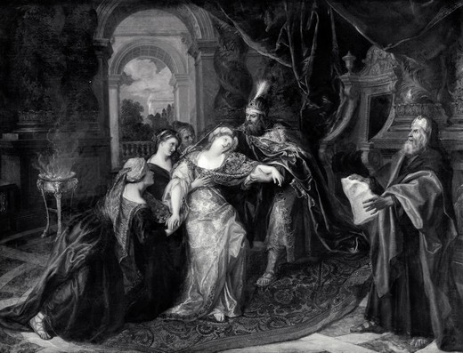 Stock Photo: 995-2641 Esther Before King Ahasverus by Antoine Coypel, illustration, (1661-1722)