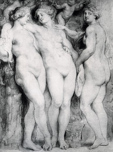 Stock Photo: 995-321 The Three Graces, sketch by Peter Paul Rubens, grisaille, 1577-1640, Italy, Florence, Palzzo Pitti
