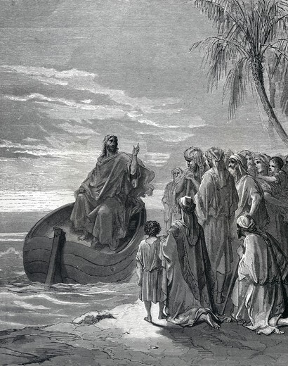 Jesus Preaching in Ship by Gustave Dore, illustration, (1832-1883) : Stock Photo