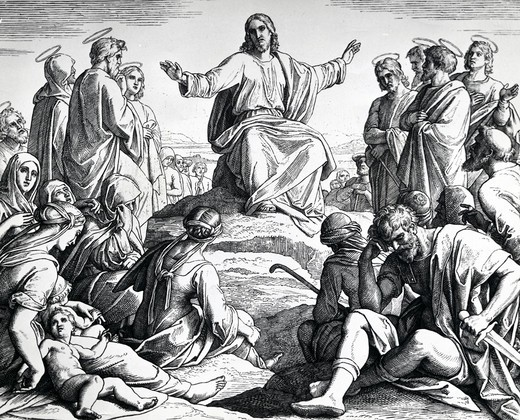 Sermon on Mount by Julius Schnorr von Carolsfeld, print, (1794-1872) : Stock Photo