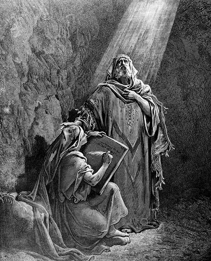 Stock Photo: 995-3548 Baruch Taking Down the Words of Jeremiah by Gustave Dore, engraving, 1832-1883