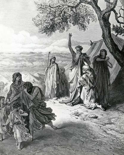 Noah Driving Ham Away by Gustave Dore, illustration, (1832-1883) : Stock Photo