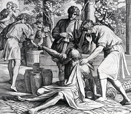 Stock Photo: 995-3553 Noah Curses Ham for His Mockery by Julius Schnorr von Carolsfeld, illustration, (1794-1872)