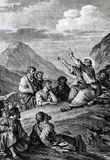 Sermon on Mount by Jean-Michel le Jeune Moreau, print, (1741-1814) : Stock Photo