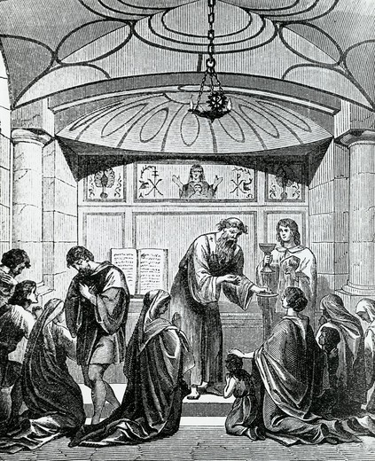 Stock Photo: 995-3568 Secret Baptism of Christians in Rome, unknown artist, illustration