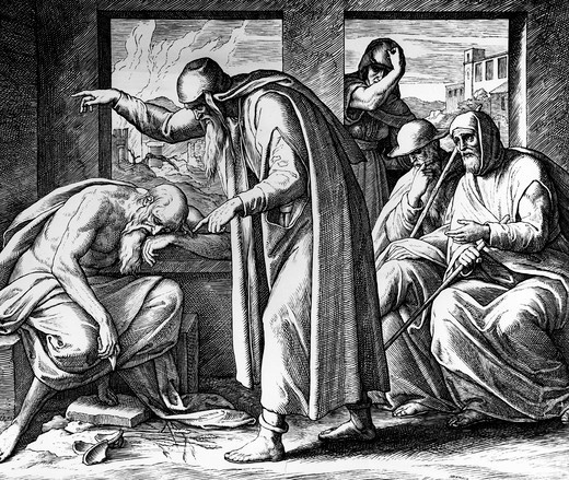Stock Photo: 995-357 Suffering Job and His Friends by Julius Schnorr von Carolsfeld, engraving, 1794-1872