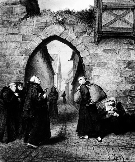 Highlights of the Life of Martin Luther: Humiliation, Autumn 1505 by Pierre Antoine Labouchere, (1807-1873) : Stock Photo
