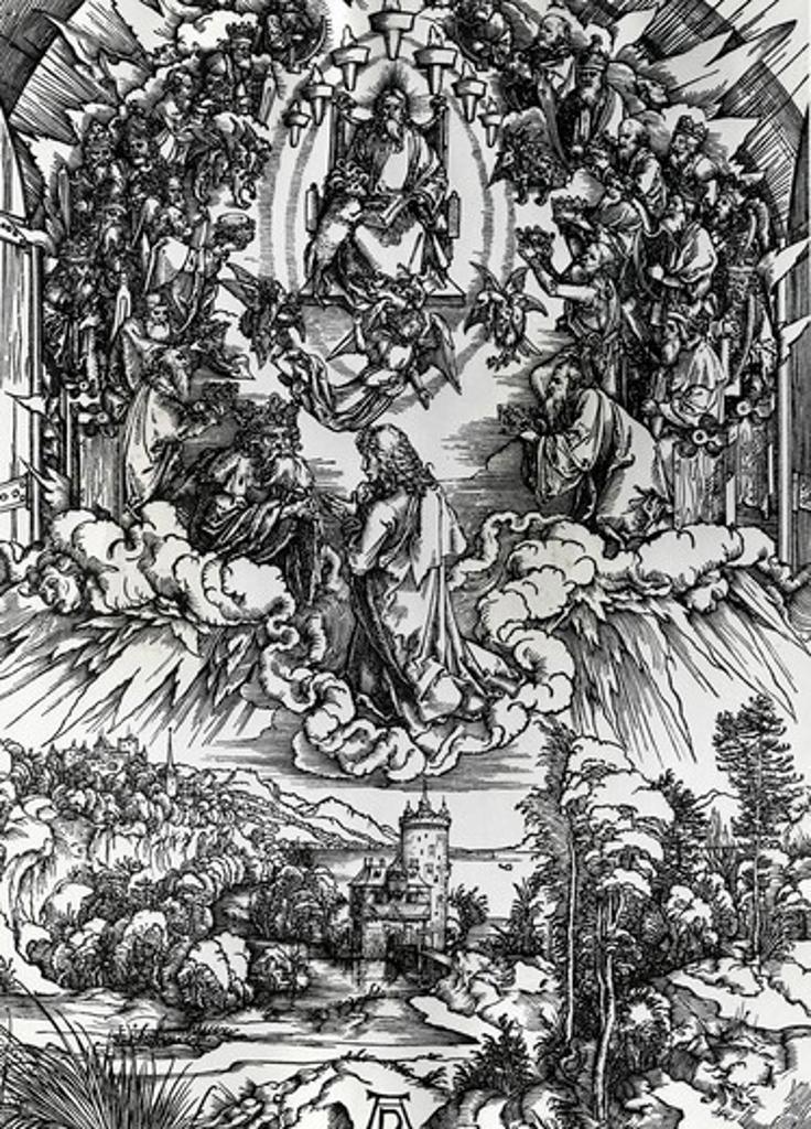 Stock Photo: 995-3614 St. John Before God and Elders by Albrecht Durer, engraving, (1471-1528)
