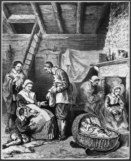 Stock Photo: 995-362 Dealing out Five Kernels of Corn in the First Winter in Plymouth 1620
