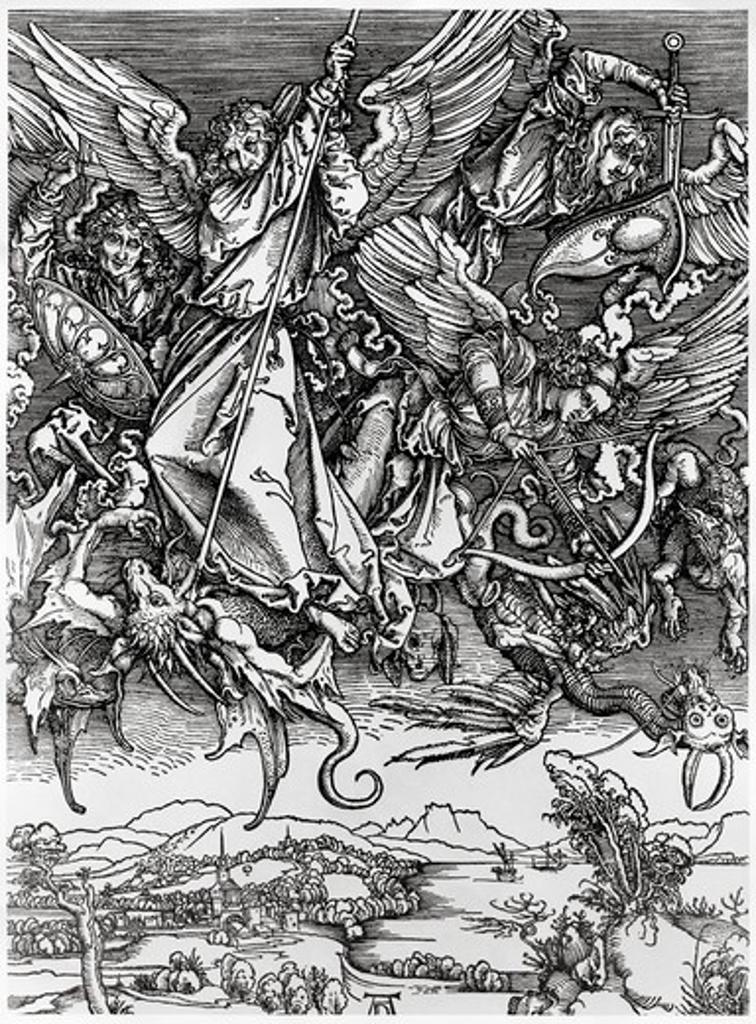 Stock Photo: 995-3626 St. Michael Fighting the Dragon Albrecht Durer (1471-1528 German) Engraving