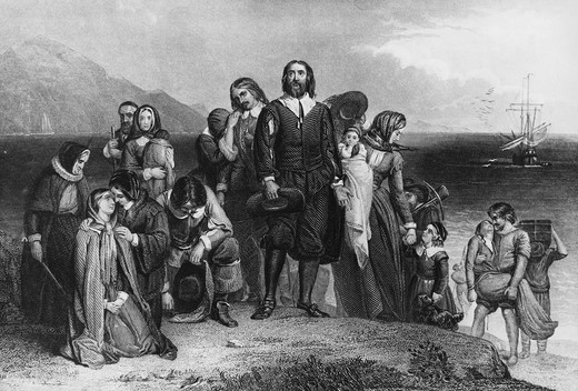 Stock Photo: 995-4225 The First Landing of the Pilgrims