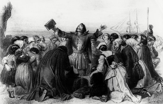 Stock Photo: 995-4229 Embarkation of the Pilgrim Fathers Edward Henry Corbould (1815-1905)