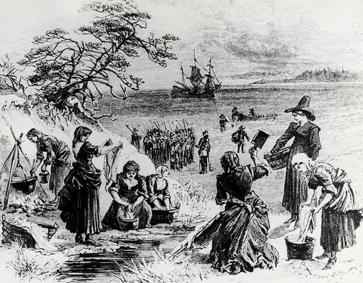 Stock Photo: 995-4250 Landing of the Mayflower on Cape Cod