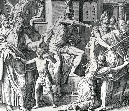 Antiochus Persecution of Israelites by Julius Schnorr von Carolsfeld, illustration, (1794-1872) : Stock Photo