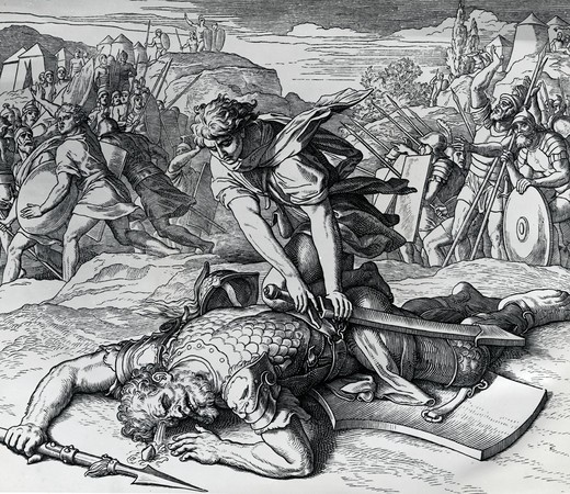 Stock Photo: 995-572 David Slays Goliath by Julius Schnorr von Carolsfeld, (1794-187)