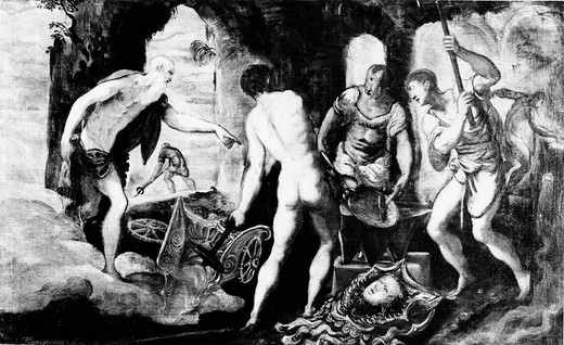 Stock Photo: 995-82 The Forge of the Vulcan by Jacopo Tintoretto, 1545-48, (1519-1594)