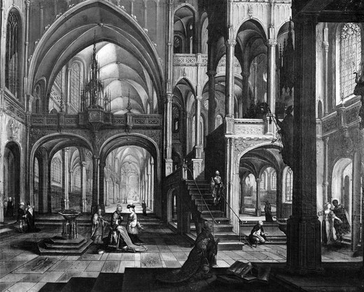 Stock Photo: 995-87061 Interior of a Church by Hendrick Aerts, 1570-1628