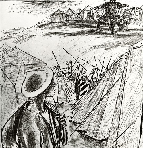 Stock Photo: 995-87091 David Comes to the Camp by Felix Hoffmann, 20th Century