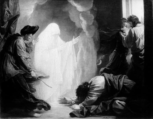 Saul and the Witch of Endor, Benjamin West, oil painting, 1738-1820 : Stock Photo