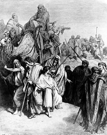 Joseph Being Sold by His Brethren by Gustave Dore, 1832-1883 : Stock Photo